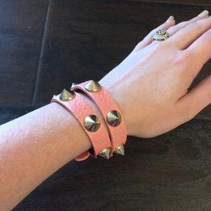 Jewelry - Dusty Rose and Gold Spike Wrap Bracelet